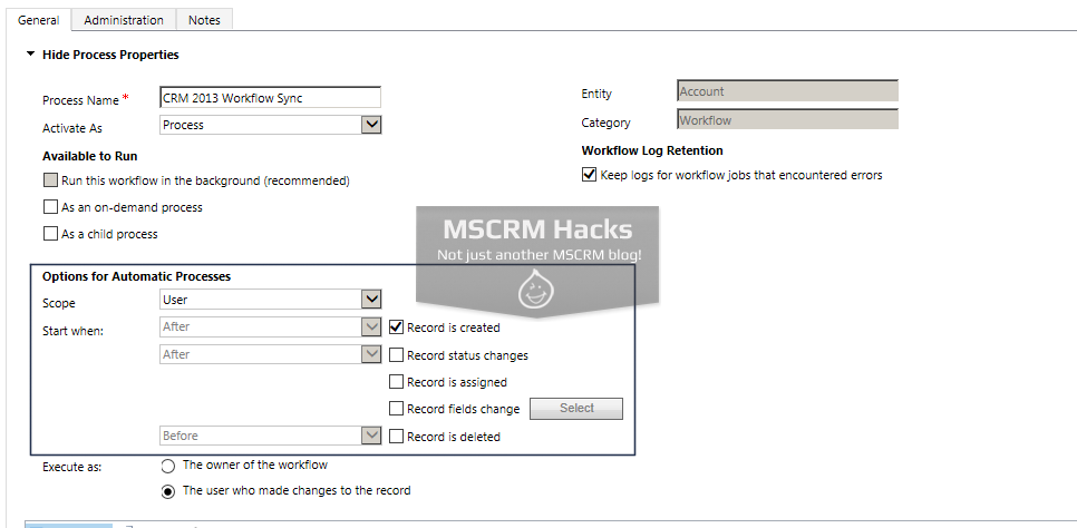 How Workflow configuration looked in CRM 2011 - Image 10