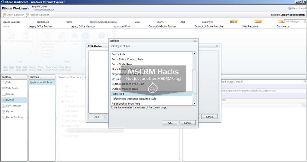 Display Ribbon Button for specific left navigation pane link for CRM 2011 – Image 13