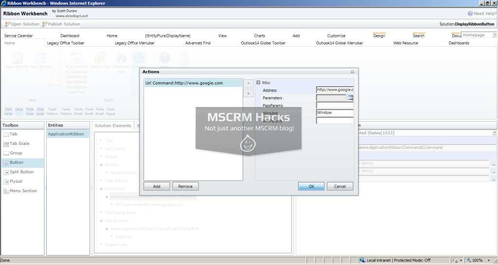 Display Ribbon Button for specific left navigation pane link for CRM 2011 – Image 25