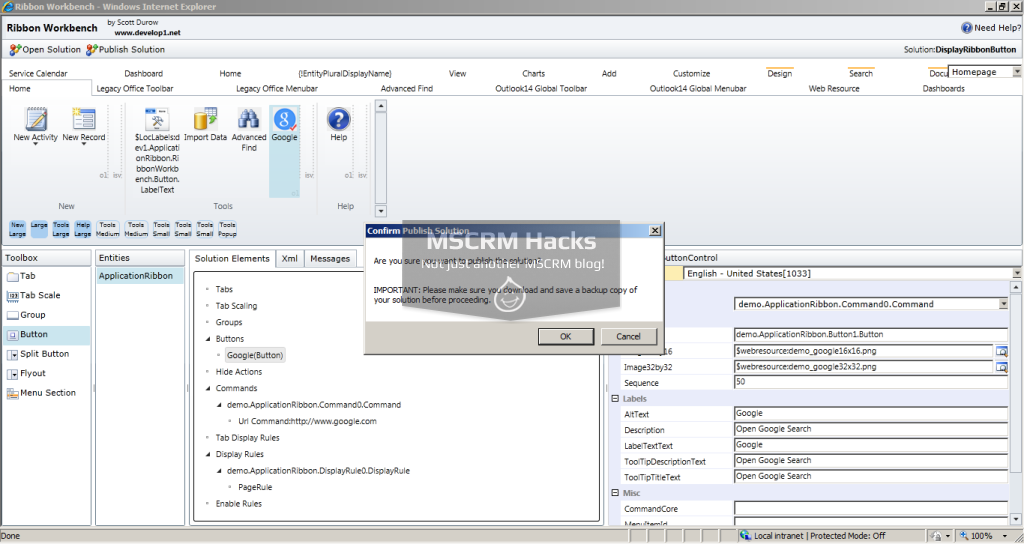 Display Ribbon Button for specific left navigation pane link for CRM 2011 – Image 28