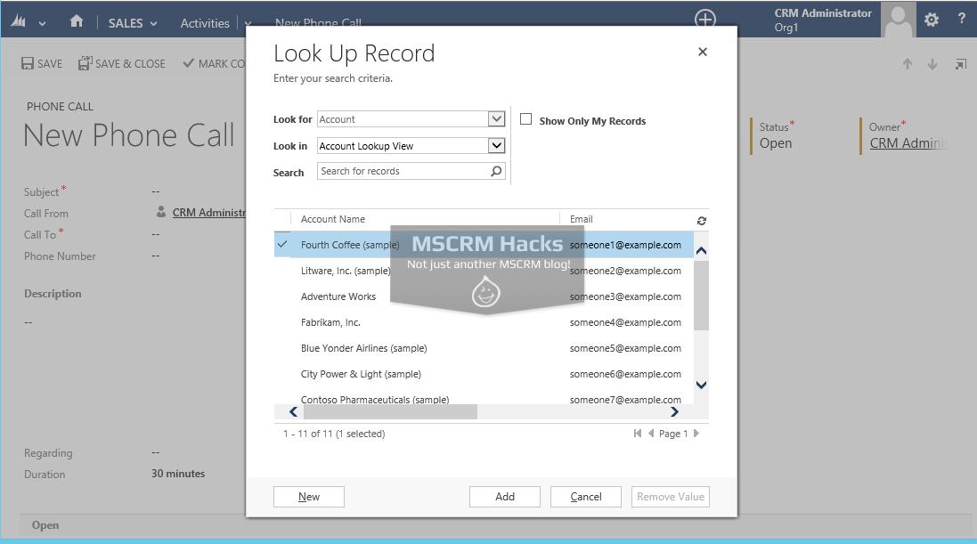 Modify Customer type Lookup in CRM 2013 - Image 01