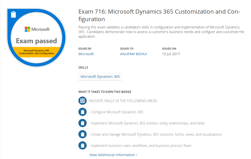 Passed The Microsoft Dynamics 365 Customization And Configuration