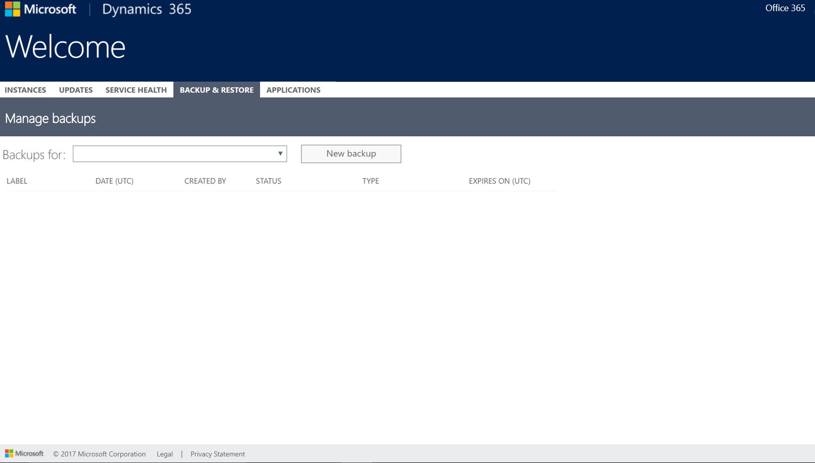 Missing instances in Backup and Restore tab in Office Portal