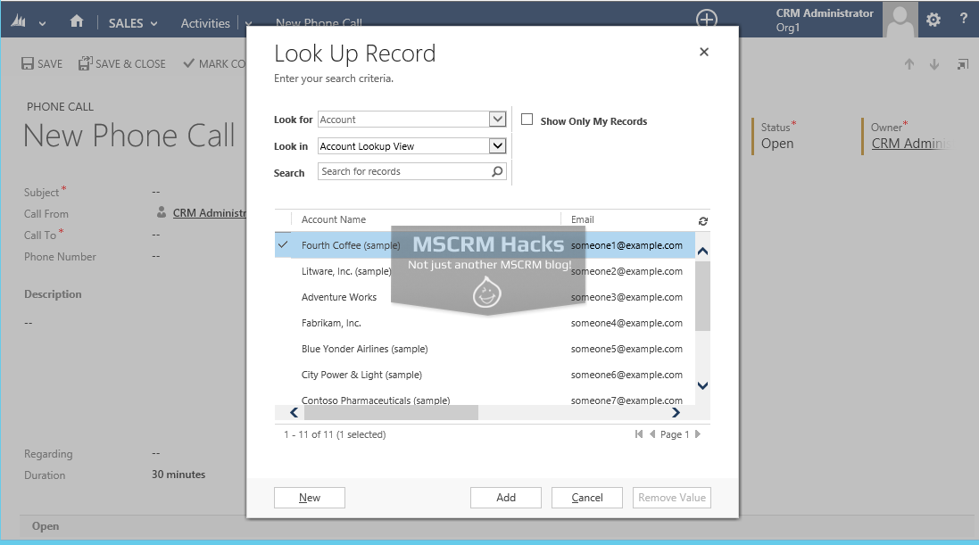 Modify Customer type Lookup in CRM 2013 - Image 01